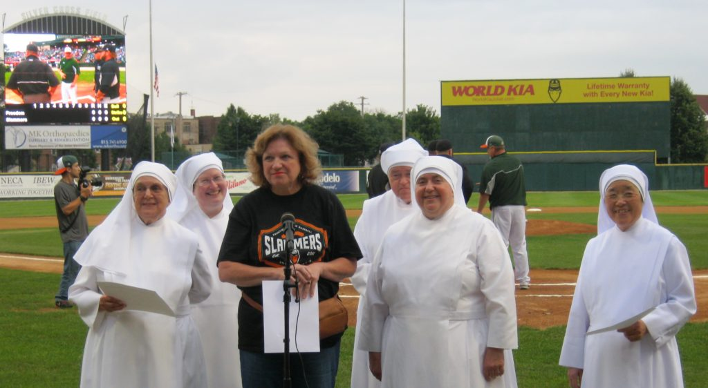 IMG_2336 - Jean from St. Mary's in Plainsfield & Sisters getting ready to sing nat'l anthem
